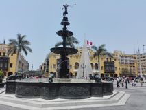 Plaza Mayor de Lima / Lima Main Square. Historic Lima Downtown with fountain Royalty Free Stock Image