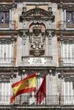 Plaza Mayor - Detail of historic tenement house facade Casa de la Panaderia in Madrid stock photography