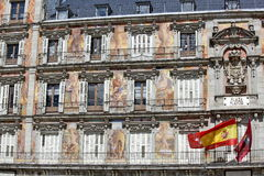Plaza Mayor - Detail Of Historic Tenement House Facade Casa De La Panaderia In Madrid Stock Images