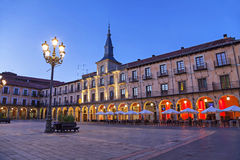 Plaza Mayor in the evening, Leon Stock Photography