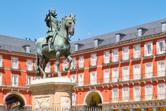 Plaza Mayor, a historic square in Madrid. With the equestrian statue of King Philip III Royalty Free Stock Photo