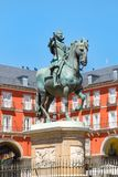 Plaza Mayor, a historic square in Madrid. With the equestrian statue of King Philip III Stock Photo