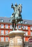 Plaza Mayor, a historic square in Madrid. With the equestrian statue of King Philip III Royalty Free Stock Image