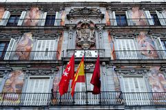 Plaza Mayor, Madrid. Ornate artwork on the facade of the famous Plaza Mayor, Madrid, Spain stock photos