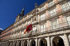 Plaza Mayor, Madrid. Decorative facade of buildings overlooking historic Plaza Mayor, Madrid, Spain stock images