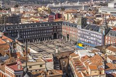 Plaza mayor madrid from above. Bird´s eye view of famous plaza mayor in madrid- spain stock photography