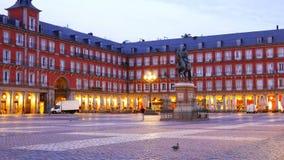Plaza mayor in Madrid at dusk or dawn Felipe III Statue footage 4k.  stock footage