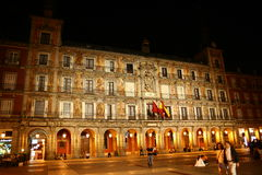 Plaza Mayor in Madrid by night Royalty Free Stock Photos