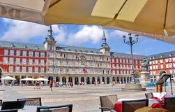 Madrid Plaza Mayor Spain. The Plaza Mayor in Madrid Spain, one of the most famous squares of the Spanish Capital Stock Photography