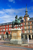 Statue on Plaza Mayor, Madrid, Spain Stock Photo