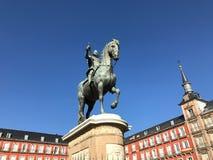 Plaza Mayor, Madrid, Spain. Blue sky. Plaza Mayor. Madrid, Spain. Winter 2018. Beautiful blue sky. Nice historic building Royalty Free Stock Photos