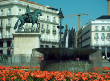 Plaza Mayor Madrid  statue of  Felipe III with fountain. MADRID-MAY 12: The statue of  Felipe III with fountain is seen in Plaza Mayor, Madrid, Spain, Europe on Royalty Free Stock Images