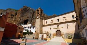 Plaza Mayor - main square of spanish village. Los Fayos Stock Images