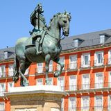 Plaza Mayor, a major landmark in central Madrid. With the equestrian statue of Philip III Stock Photo