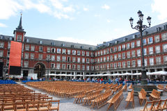 Plaza Mayor, May 9, 2013, in Madrid, Spain. Plaza Mayor was inaugurated on 15 May 1620 on the occasion of the canonization Sv.Isidro, the patron saint of the Stock Image
