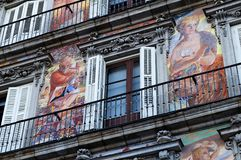 Plaza Mayor painted facade Royalty Free Stock Photos