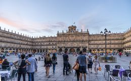 The Plaza Mayor of Salamaca. Salamanca, Spain. - Sept 2 2017. People gathering in a relaxing atomosphere in the Plaza Mayor of Salamanca royalty free stock images