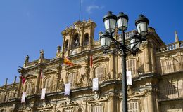 Plaza Mayor in Salamanca. View of the town hall building (Ayunamiento).  Dates from the beginning of the 18th century, is the central square of the city Royalty Free Stock Photography
