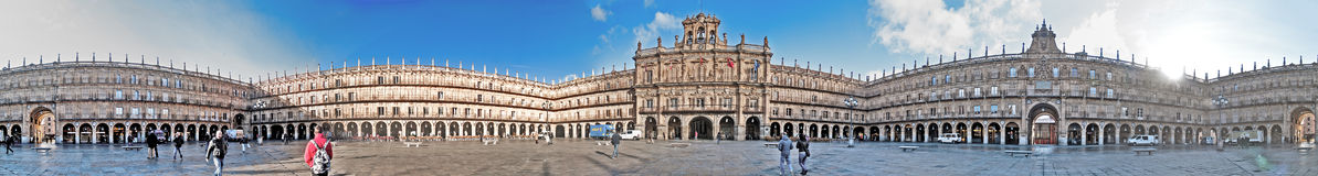 Plaza Mayor Salamanca panorama. Salamanca, December 2012. Plaza Mayor panorama. Built in 1729 - 1756 on baroque style architecture, designed by Alberto Royalty Free Stock Photos
