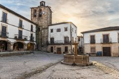 Plaza Mayor in San Martin de Trevejo.  stock photos