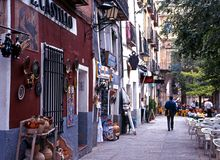Plaza Mayor shops and cafes, Cuenca. Royalty Free Stock Image