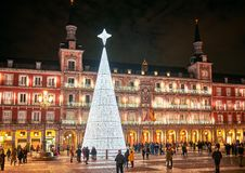 Free Plaza Mayor Square Illuminated By A Shinny Christmas Tree. Madrid, Spain Stock Photos - 166957723