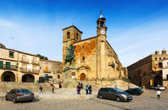 Plaza Mayor in sunny day at Trujillo Royalty Free Stock Photos