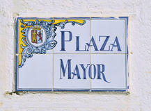 Plaza Mayor tiles. Ceramic tiles with the words Plaza Mayor royalty free stock image