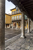 Plaza Mayor ,Tordesillas ,Valladolid. Ancient main square with arcades after rain in Tordesillas, Spain stock photography