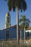 The Plaza Mayor in Trinidad, Cuba,. View of plaza Mayor and the bell tower of the Iglesia y Convento de San Francisco. in Trinidad,Cuba Royalty Free Stock Photo
