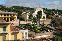 Plaza Mayor, Trinidad, Cuba. Rooftop scene overlooking the main square, Plaza Mayor in the UNESCO world heritage town of Trinidad in Central Cuba stock photo