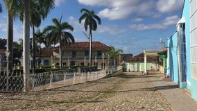 Plaza mayor in Trinidad, Cuba. Trinidad is a town in central Cuba, known for its colonial old town and cobblestone streets. Its neo-baroque main square, Plaza stock video footage