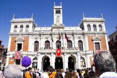 Plaza mayor in Valladolid. Party in plaza mayor in Valladolid, spanish city Stock Images