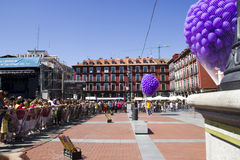 Plaza mayor in Valladolid. Party in plaza mayor in Valladolid, spanish city Royalty Free Stock Photography