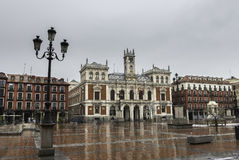Plaza Mayor, Valladolid. Wide-angle view of the main square (Plaza Mayor) in Valladolid on a rainy Autumn morning, with the City Hall already decorated with Stock Images