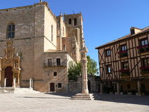 Plaza medieval. Church and square of Peñaranda de Duero village, Burgos Province, Castile and Leon, Spain Royalty Free Stock Image
