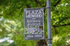 Plaza midwood της ιστορικής περιοχής στο σημάδι του Σαρλόττα nc Στοκ φωτογραφίες με δικαίωμα ελεύθερης χρήσης