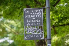 Plaza midwood of historic district in charlotte nc sign Royalty Free Stock Photos