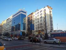 Modern And Historic Buildings Sreet Sisli Osmanbey Istanbul. Plaza & Moden and Historical Buildings Street and Cars People in Osmanbey Harbiye Sisli Istanbul Stock Photos