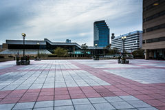 Plaza and modern buildings in Baltimore, Maryland. Royalty Free Stock Photo