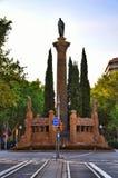 Plaza Mossin Jacint Verdaguer - μνημείο για Verdaguer Στοκ εικόνα με δικαίωμα ελεύθερης χρήσης