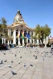 Plaza Murillo με το προεδρικό παλάτι & καθεδρικός ναός στο Λα Παζ Στοκ Εικόνες