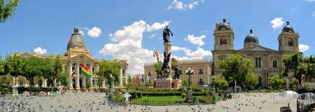 Plaza Murillo, palacio presidencial y catedral fotos de archivo