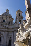 Plaza Navona. And the fountain statue view royalty free stock image