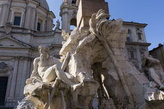 Plaza Navona. And the fountain statue view stock photography