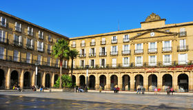 Plaza Nueva in Bilbao, Spain. BILBAO, SPAIN - NOVEMBER 14: Plaza Nueva on November 14, 2012 in Bilbao, Spain. The main building, formerly site of the Biscay Stock Photos