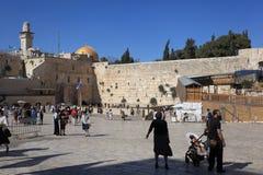 Plaza occidentale de mur avec des familles et des touristes Image libre de droits