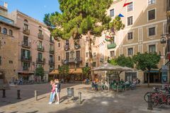 Plaza in the old town of Barcelona Royalty Free Stock Photos