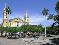 Plaza with Ornate Building. Plaza with groomed low trees and tall palms.  Large ornate colonial style yellow building lies beyond plaza.  Location:  Granada Royalty Free Stock Photo