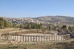Plaza ovale dans Jerash, Jordanie Photographie stock libre de droits